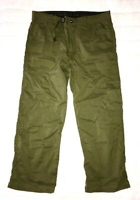 prAna Mens Sz 30 L Born From Experience Hiking Pants Olive Green Water Resistant