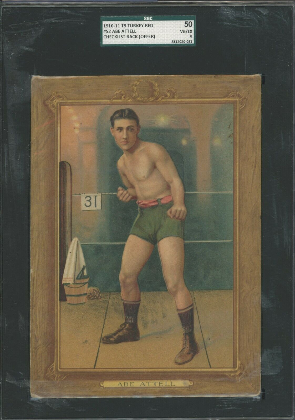 1911 t9 turkey red boxing #52 abe attell checklist back offer sgc 54 vg-ex 4