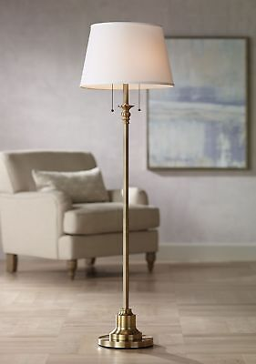 Traditional Floor Lamp Brushed Antique Brass Linen Shade for Living Room Reading