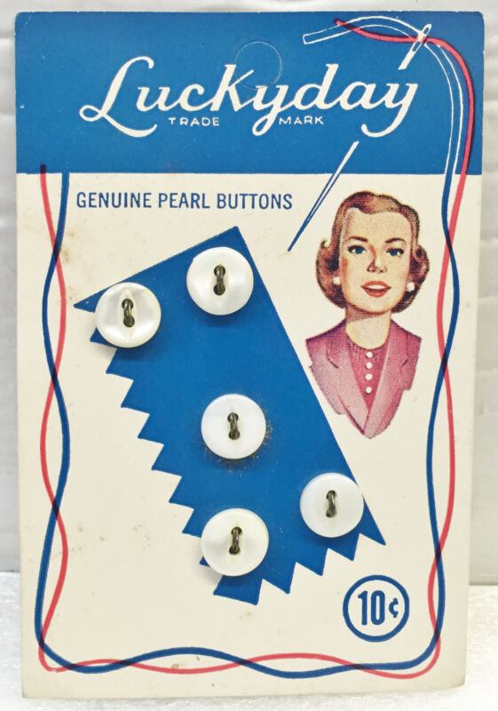 """5 LUCKYDAY 3/8"""" WHITE GENUINE PEARL 2-HOLE BUTTONS on VINTAGE CARD"""
