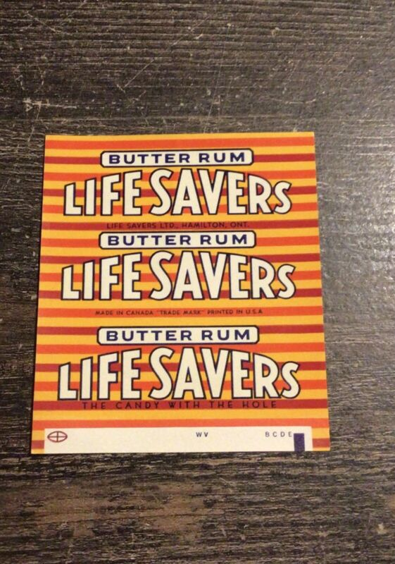 Rare Mint Original 1960's Life Savers Candy Roll Wrapper Butter Rum Unused