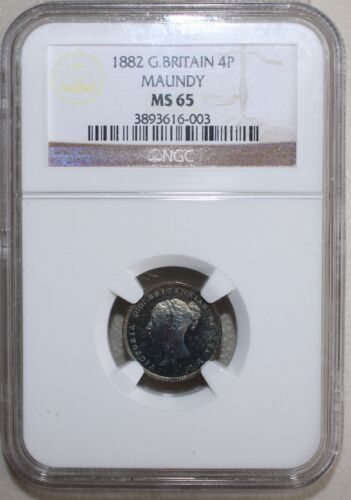 1882 Great Britain Silver Maundy 4 Pence Coin Certified NGC as MS65 KM #732 B36