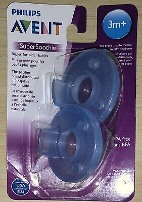 PHILIPS Avent Super Soothie Baby Infant Pacifier BPA FREE 2 Pack (BLUE, 3M+)