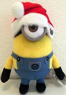 Minions Minion Steve mit Weihnachtsmütze Weihnachten ca. 23 cm 3D Auge (Minion Mit Mütze)