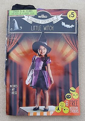 Wilko Mädchen Schwarz Lila Halloween Kleiner Hexe Kleid 100% Polyester 5-6 Jahre ()