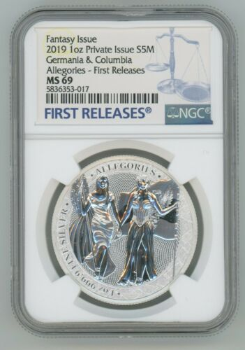 2019 1 oz Silver Allegories Germania & Columbia Medal NGC MS69 First Releases