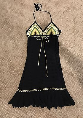 Free People Boho Crochet Knit Black S/P Halter Lined Dress Small