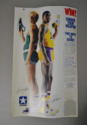 """1986 Larry Bird Magic Johnson 11.25""""x18.75"""" Converse Shoes Poster Ad Sweepstakes"""