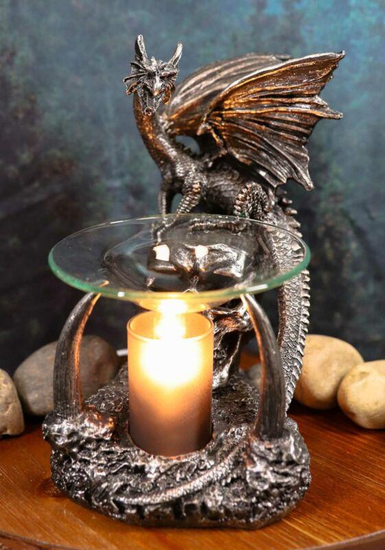 "Ebros Skull Graveyard Dragon Electric Oil Burner Or Tart Warmer Statue 8.5"" Tall"