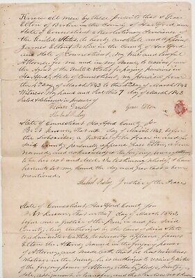 1843 BERLIN CT Document from REV WAR Soldier Widow Grace Elton about her Pension
