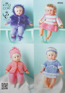 736da72a0 King Cole Toy Dolls Clothes DK Knitting Pattern 4000b