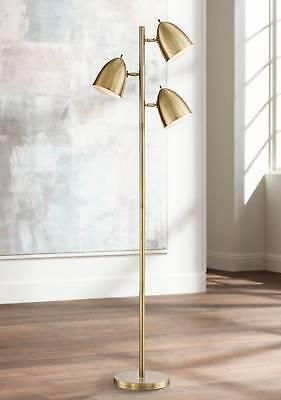 Mid Century Modern Floor Lamp 3-Light Tree Adjustable Aged Brass For Living Room