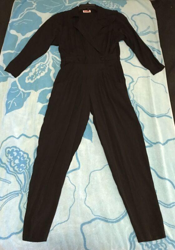 Vintage VTG FADS Women's Black Jumpsuit Size Small