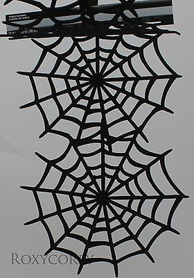 Halloween Celebrate it Black Felt Spiderweb Table Runner 12x36 in NWT