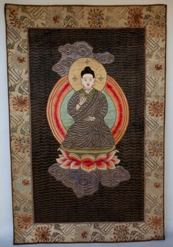 """Large Vintage Finely Woven Chinese Embroidered Silk Panel BUDDHA 39"""" X 26"""""""