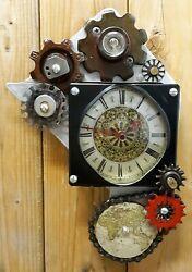 Steampunk Wall Clock- Metal Gears- Antique Map Industrial- Handmade