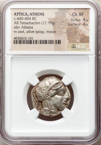 Attica Athens Greek Owl Silver Tetradrachm Coin (440-404 Bc) - Ngc Ch Xf 4/5 4/5