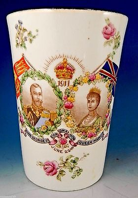 King George V HMS Dreadnought Rare Antique Aynsley Coronation Beaker