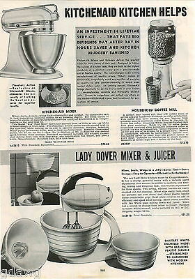 1942 ADVERT 2 PG Kitchenaid  Electric Food Mixer Lady Dover