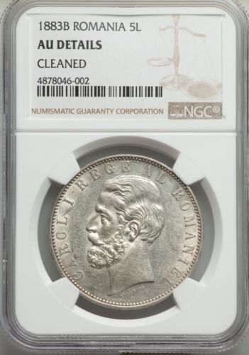 ROMANIA CAROL I 1883 5 LEI SILVER COIN NGC CERTIFIED ALMOST UNCIRCULATED DETAILS