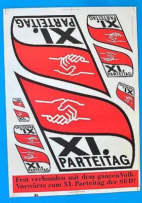 DDR Plakat Poster 1129 | XI Parteitag der SED 1985 | 81 x 57 cm Original DEWAG
