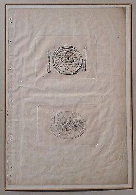 W. HOGARTH: DINNER INVITATION / THE RAPE OF THE LOCK Kupfer, gerahmt um 1800