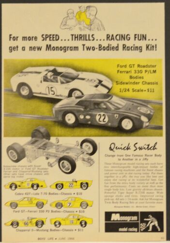 1966 Monogram Print Ad 2 Bodied Racing Kit Cobra Ford GT sidewinder Chassis 1/24