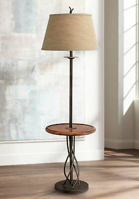 Rustic Floor Lamp With Table Wood Twisted Iron Linen Bell Shade For Living Room - $139.95