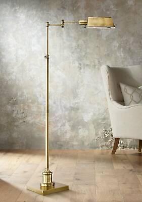 Aged Brass Pharmacy Floor Lamp Adjustable Swing Arm For Living Room - Lamps -