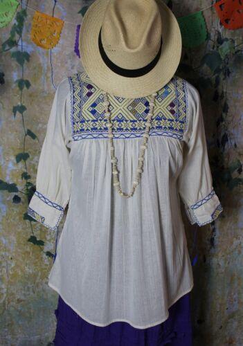 Small Sz Mexican Peasant Blouse Handwoven 100% Cotton Mayan Chiapas Boho Hippie