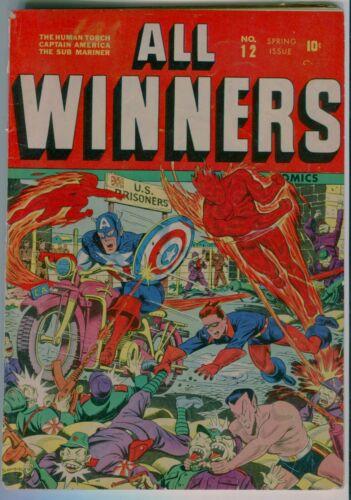 ALL WINNERS #12  Restoration   Schomburg WW2 cover. Red Skull Captain America