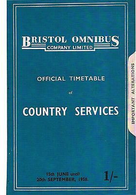 1958 Bristol Omnibus Bus Timetable with Map Country Services