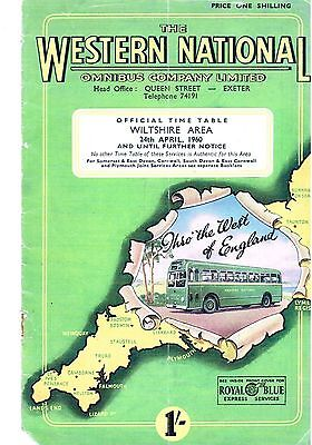 WESTERN NATIONAL BUS TIMETABLE BOOK WILTSHIRE APR 1960