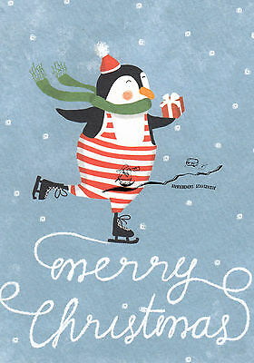 Postkarte: Merry Christmas / Pinguin auf Schlittschuhen