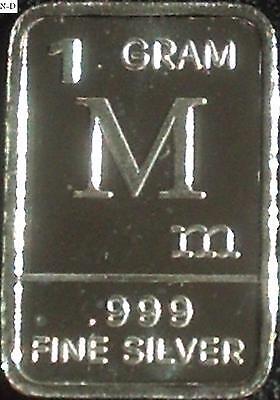 1 Gram .999 Fine Pure Solid Silver Bar / Letter M - $3.00