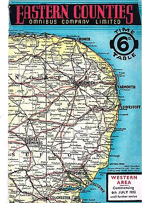 Eastern Counties Omnibus Co Ltd: Western Area bus timetable: July, 1952