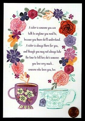 Mother's Day Cups (Mother's Day For Sister Tea Coffee Cups GLITTERED - Mother's Day Greeting Card)