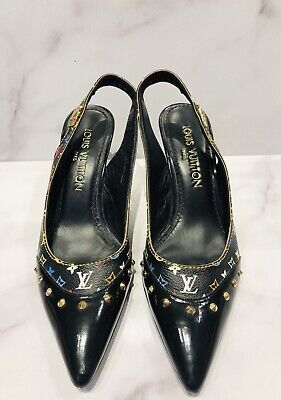 Louis Vuitton LV Black Monogram Studded Slingback Heels Shoes
