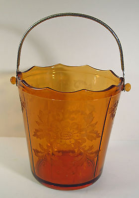 """CAMBRIDGE GLASS CO - AMBER GLASS ICE BUCKET - """"APPLE BLOSSOM"""" ETCH  - CHROME HDL"""
