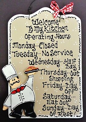 FAT CHEF Kitchen Operating Hours SIGN Cucina Bistro Wall Art Hanger Plaque Decor