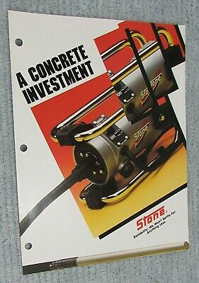 1987 Stone Construction Equipment Concrete Vibrator Single Fold Brochure Free Sh