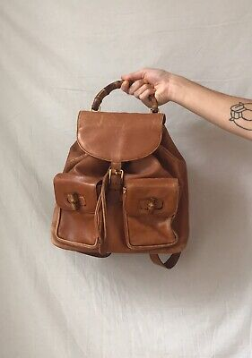 Gucci Bamboo Brown Leather Backpack Authentic Used