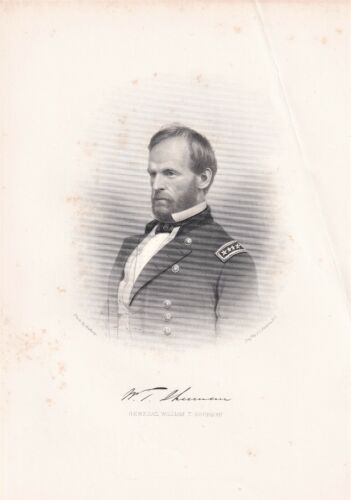 WILLIAM T. SHERMAN General during the Civil War 1866 stipple engraving