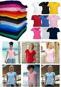 Fruit-of-the-Loom-Womens-V-Neck-T-Shirt-Ladies-Top-Lady-Fit-FOTL