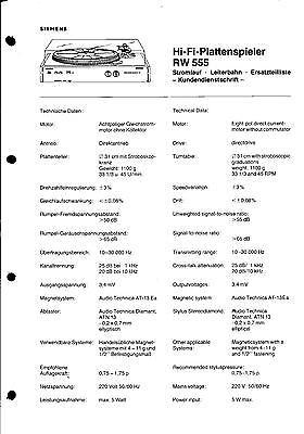Siemens Service Manual für RW 555 Copy