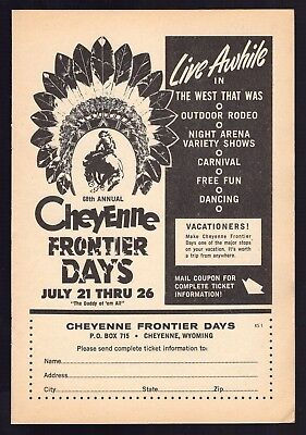 1964 PRINT AD~CHEYENNE FRONTIER DAYS~68th ANNUAL WYOMING~CARNIVAL~RODEO~DANICNG