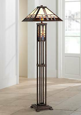 Mission Floor Lamp Art Deco Oiled Bronze Stained Glass For Living Room Reading ()