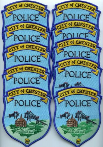 CHESTER PENNSYLVANIA Patch Lot Trade Stock 10 Police Patches BRIDGE POLICE PATCH