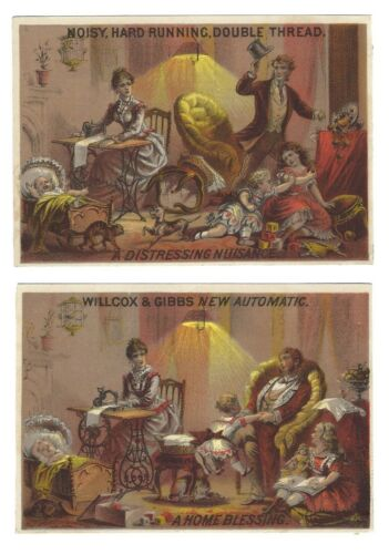 Willcox & Gibbs New Automatic Sewing Machine Trade Cards Before and After Scenes