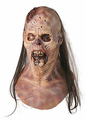 Halloween MAGGOT BUFFET ZOMBIE WITH HAIR Latex Deluxe Mask Bump In The Night